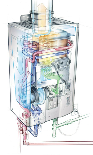 how does a tankless water heater work diagram